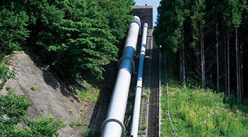 高低差66.5mの送水管